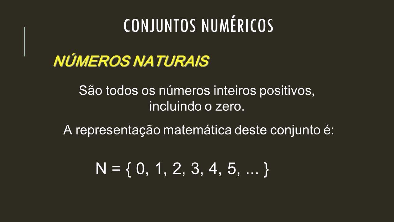 CONJUNTOS NUMÉRICOS N = { 0, 1, 2, 3, 4, 5, ... } NÚMEROS NATURAIS