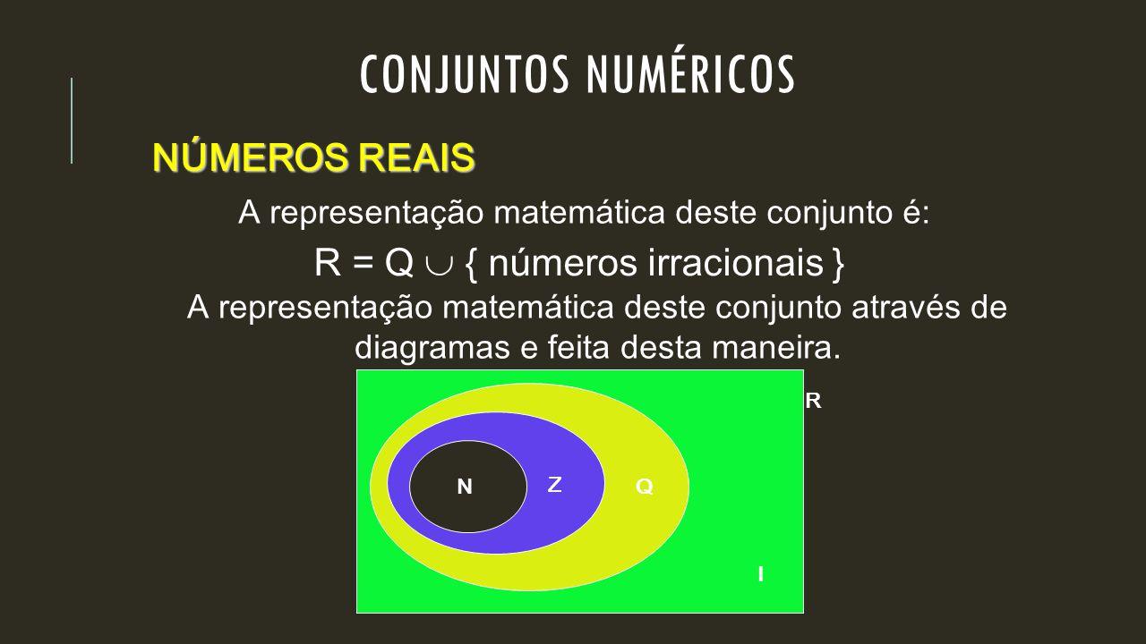 CONJUNTOS NUMÉRICOS NÚMEROS REAIS R = Q  { números irracionais }