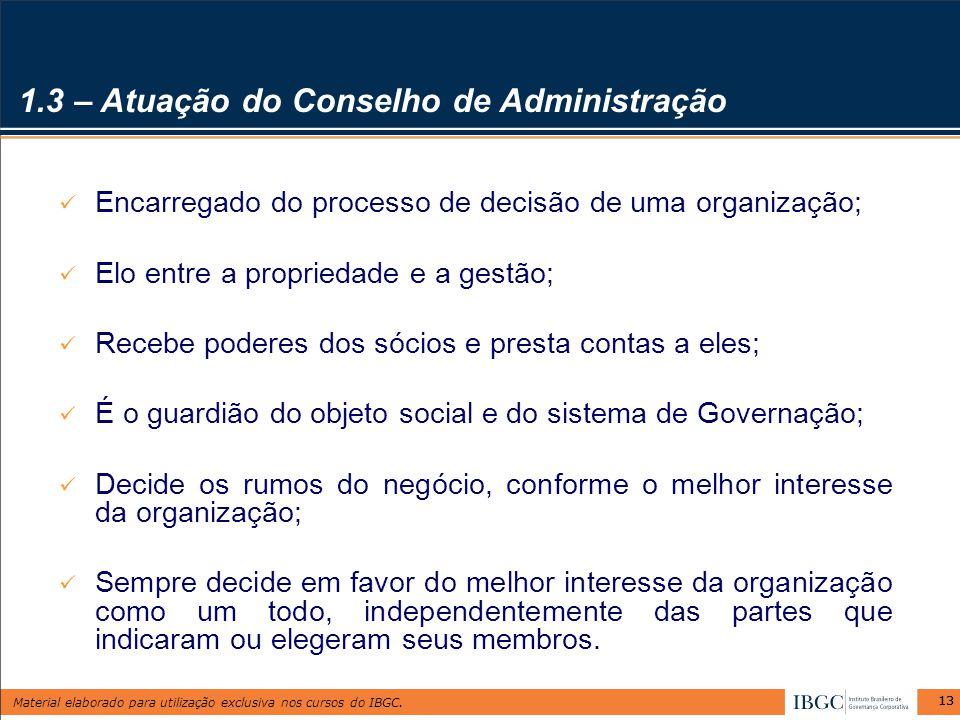 1.3 – Atuação do Conselho de Administração