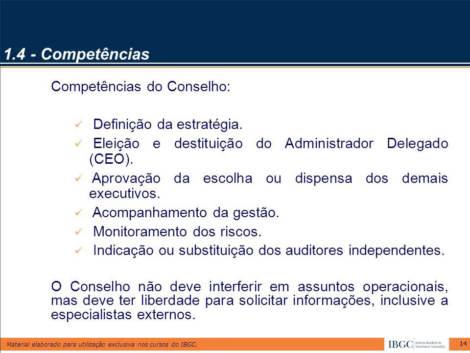 1.4 - Competências Competências do Conselho: Definição da estratégia.