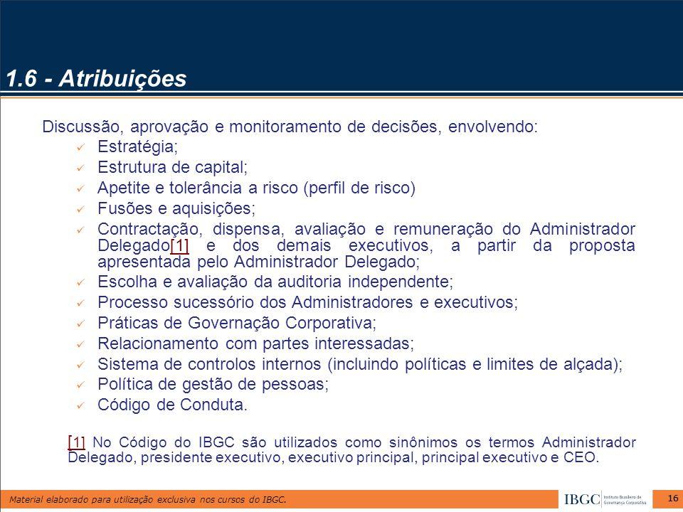 1.6 - Atribuições Discussão, aprovação e monitoramento de decisões, envolvendo: Estratégia; Estrutura de capital;