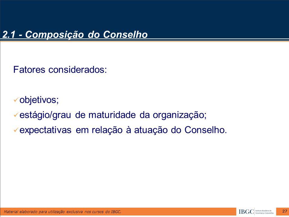 2.1 - Composição do Conselho