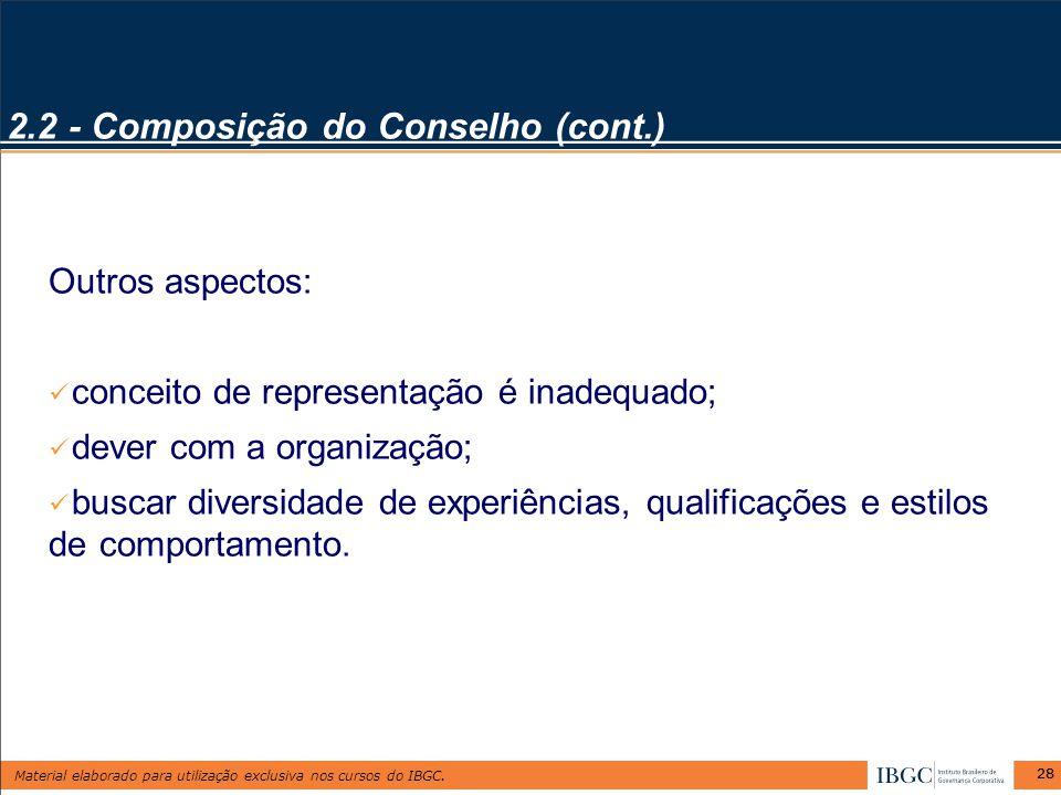 2.2 - Composição do Conselho (cont.)