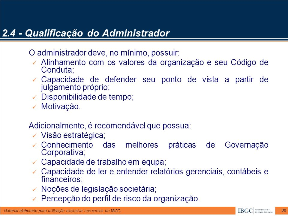 2.4 - Qualificação do Administrador