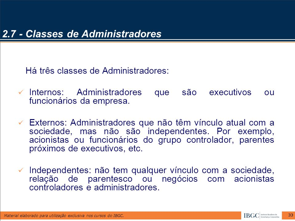 2.7 - Classes de Administradores