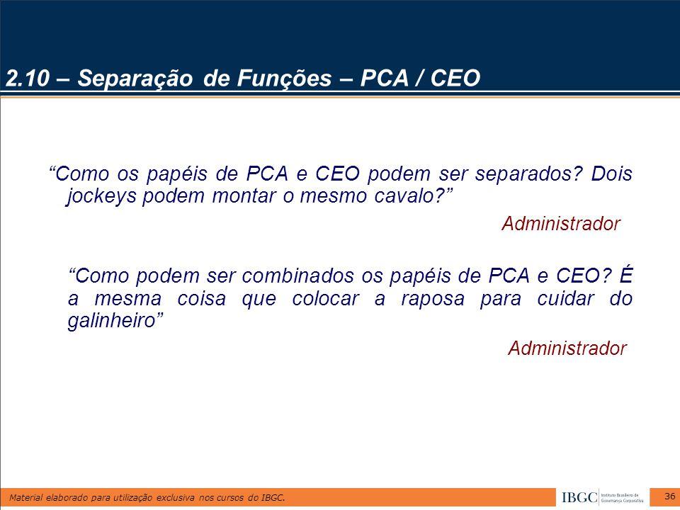 2.10 – Separação de Funções – PCA / CEO