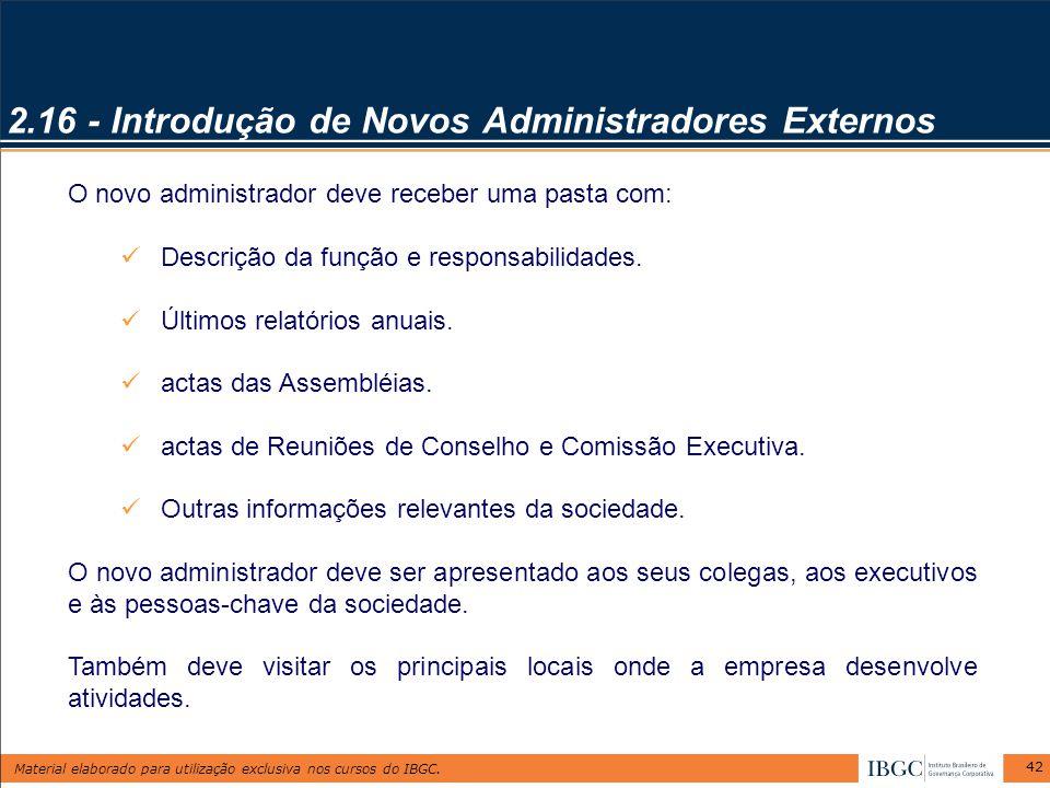 2.16 - Introdução de Novos Administradores Externos