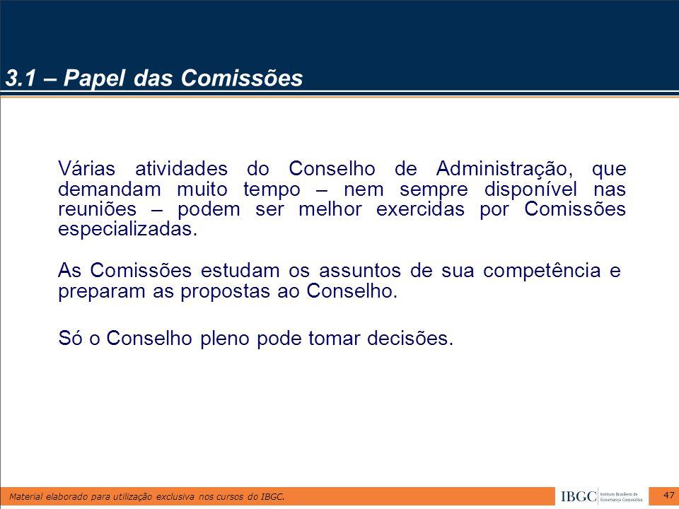 3.1 – Papel das Comissões