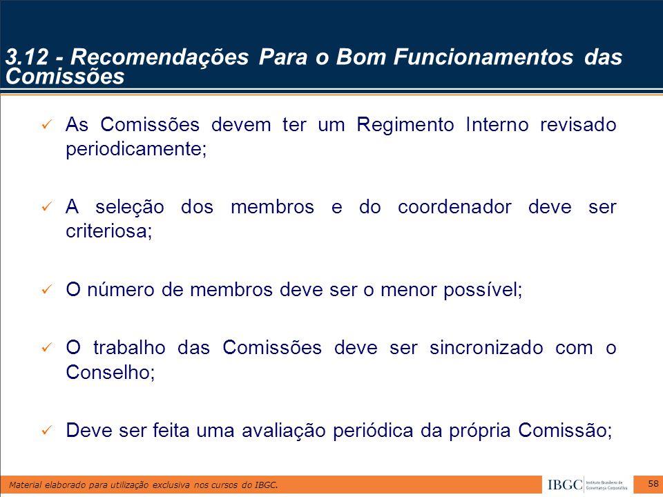 3.12 - Recomendações Para o Bom Funcionamentos das Comissões