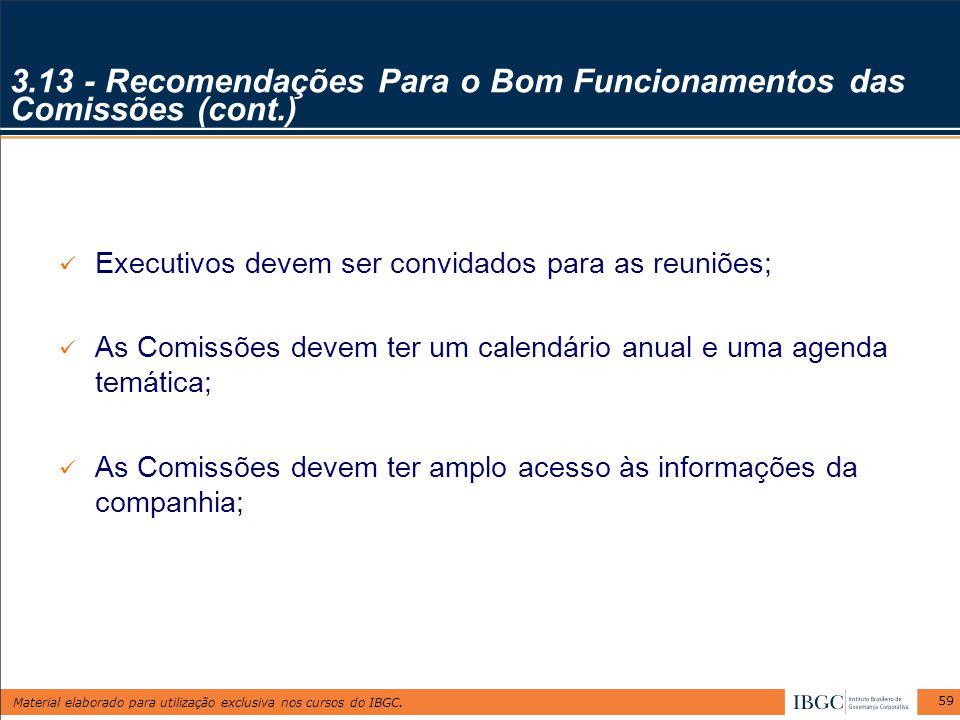 3.13 - Recomendações Para o Bom Funcionamentos das Comissões (cont.)
