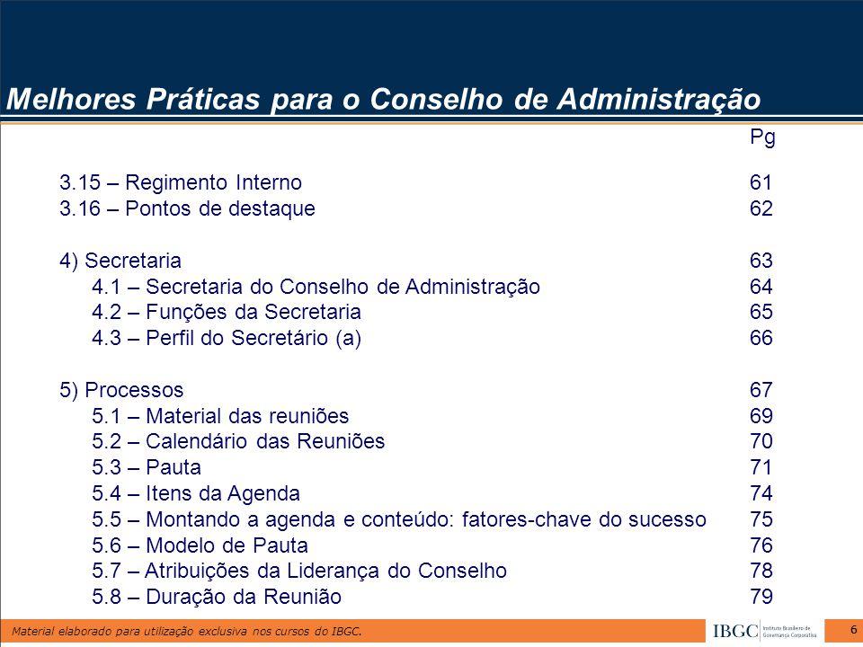 Melhores Práticas para o Conselho de Administração
