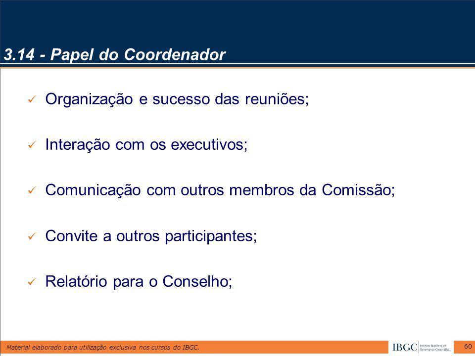 3.14 - Papel do Coordenador Organização e sucesso das reuniões;