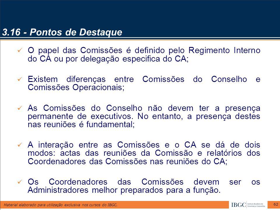 3.16 - Pontos de Destaque O papel das Comissões é definido pelo Regimento Interno do CA ou por delegação especifica do CA;