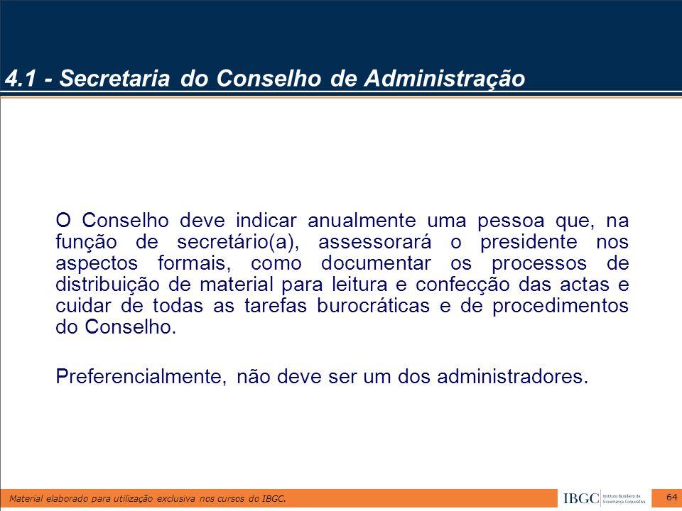 4.1 - Secretaria do Conselho de Administração