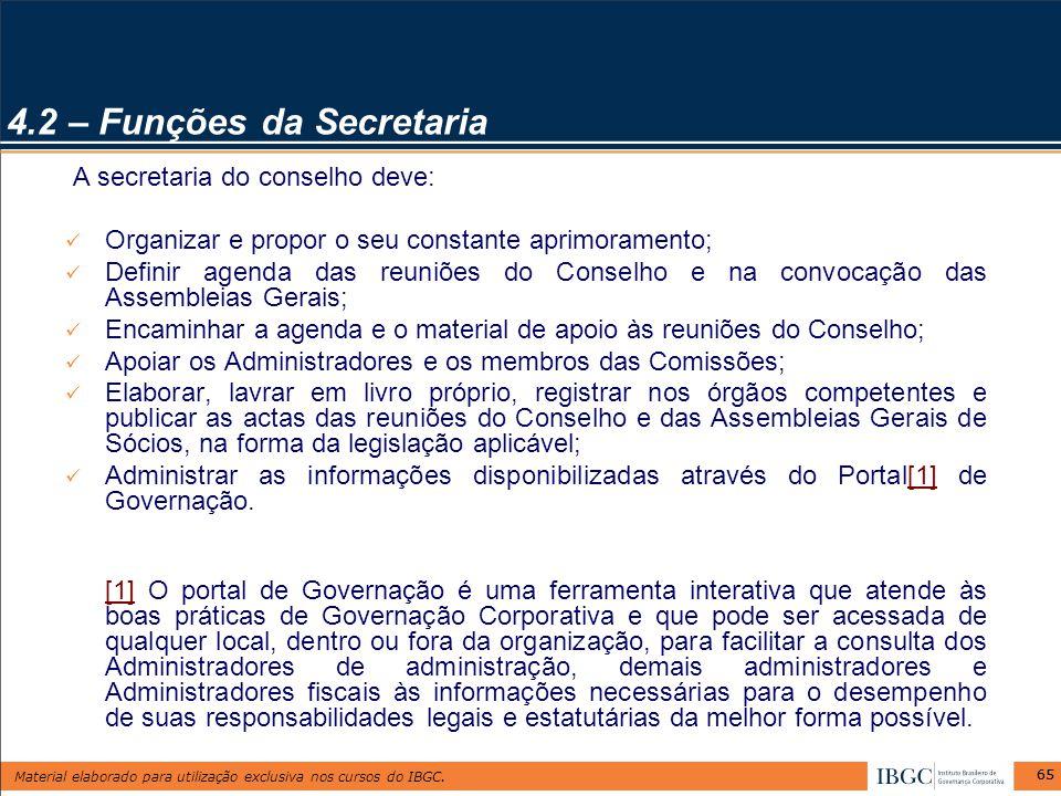 4.2 – Funções da Secretaria