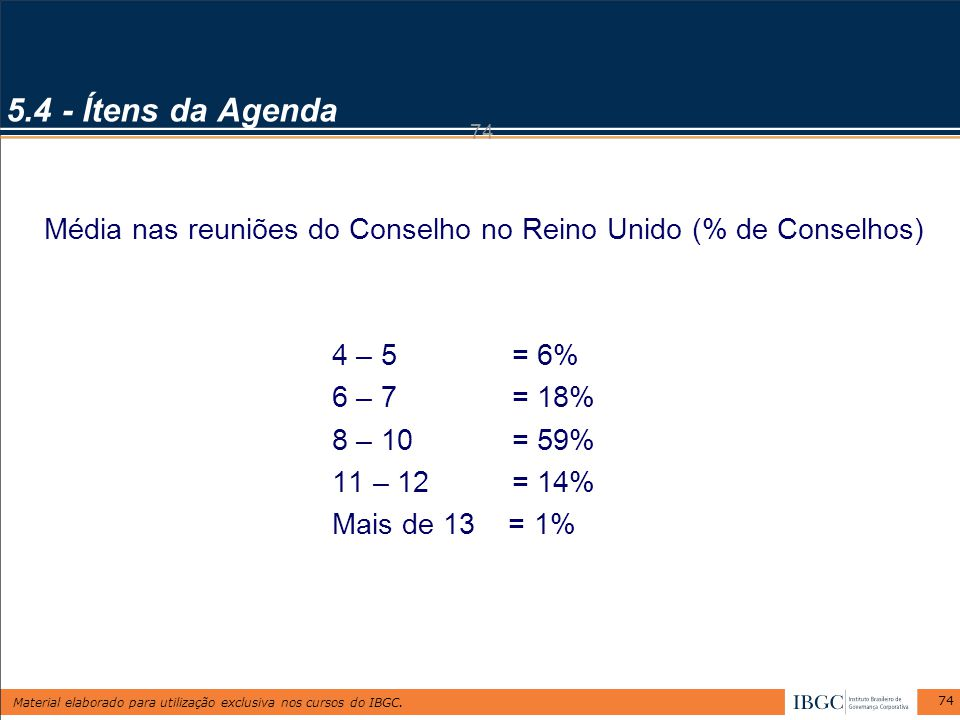 5.4 - Ítens da Agenda 74. Média nas reuniões do Conselho no Reino Unido (% de Conselhos) 4 – 5 = 6%