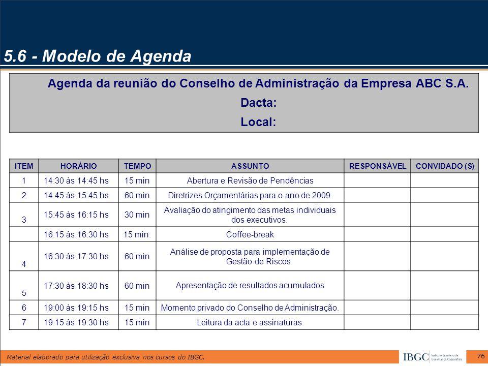 Agenda da reunião do Conselho de Administração da Empresa ABC S.A.