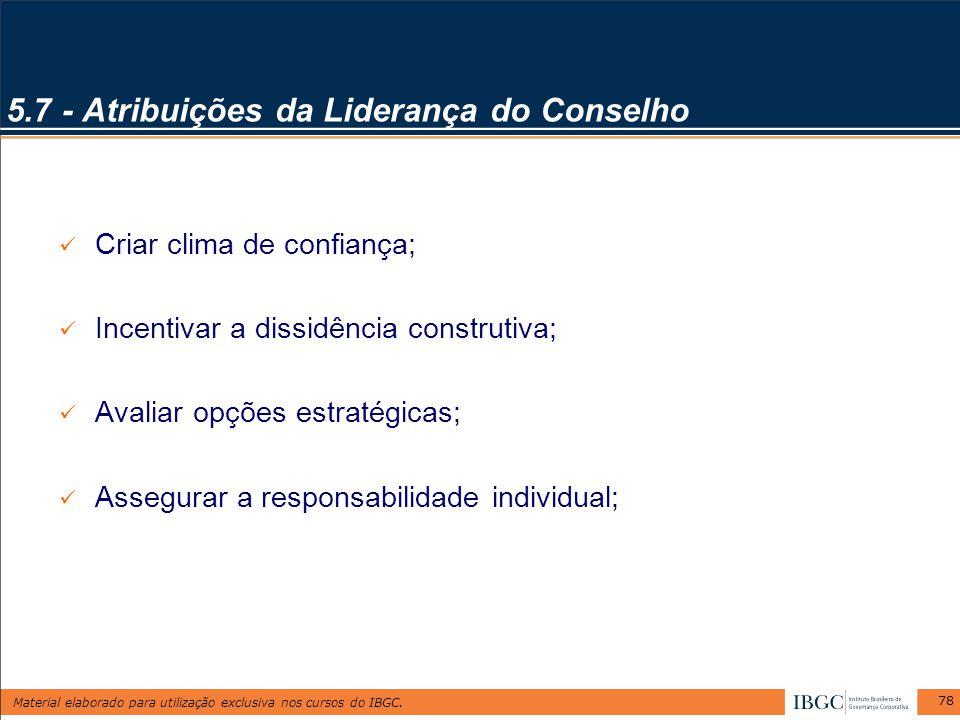 5.7 - Atribuições da Liderança do Conselho
