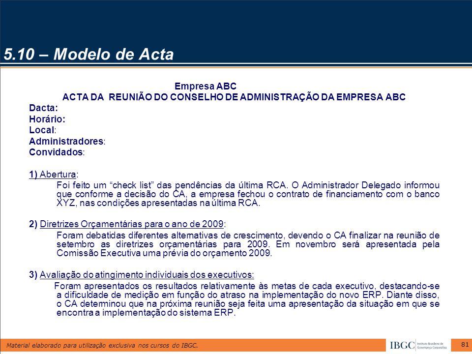 ACTA DA REUNIÃO DO CONSELHO DE ADMINISTRAÇÃO DA EMPRESA ABC