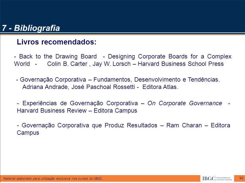 7 - Bibliografia Livros recomendados: