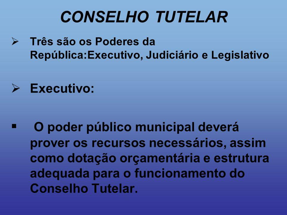 CONSELHO TUTELAR Três são os Poderes da República:Executivo, Judiciário e Legislativo. Executivo: