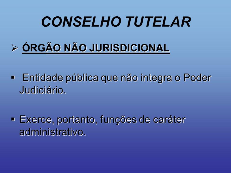 CONSELHO TUTELAR ÓRGÃO NÃO JURISDICIONAL