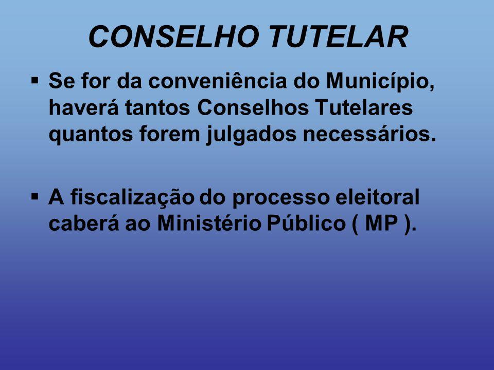 CONSELHO TUTELAR Se for da conveniência do Município, haverá tantos Conselhos Tutelares quantos forem julgados necessários.