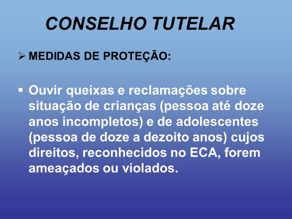 CONSELHO TUTELAR MEDIDAS DE PROTEÇÃO: