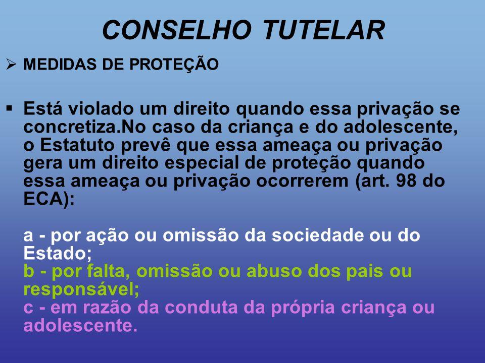CONSELHO TUTELAR MEDIDAS DE PROTEÇÃO.