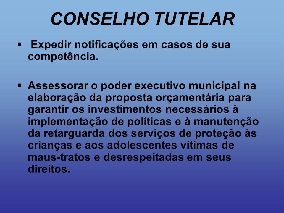 CONSELHO TUTELAR Expedir notificações em casos de sua competência.