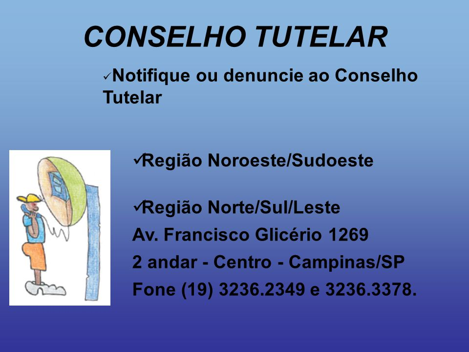 CONSELHO TUTELAR Região Noroeste/Sudoeste Região Norte/Sul/Leste