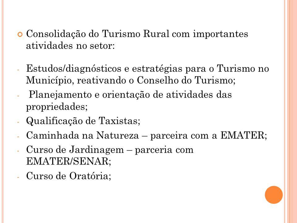 Consolidação do Turismo Rural com importantes atividades no setor: