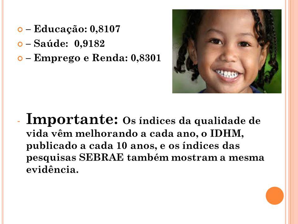 – Educação: 0,8107 – Saúde: 0,9182. – Emprego e Renda: 0,8301.