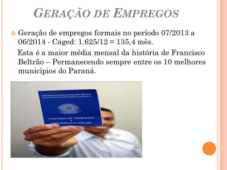Geração de Empregos Geração de empregos formais no período 07/2013 a 06/2014 - Caged: 1.625/12 = 135,4 mês.