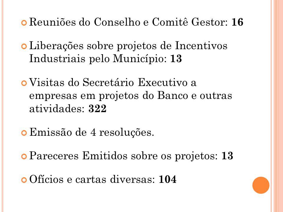 Reuniões do Conselho e Comitê Gestor: 16