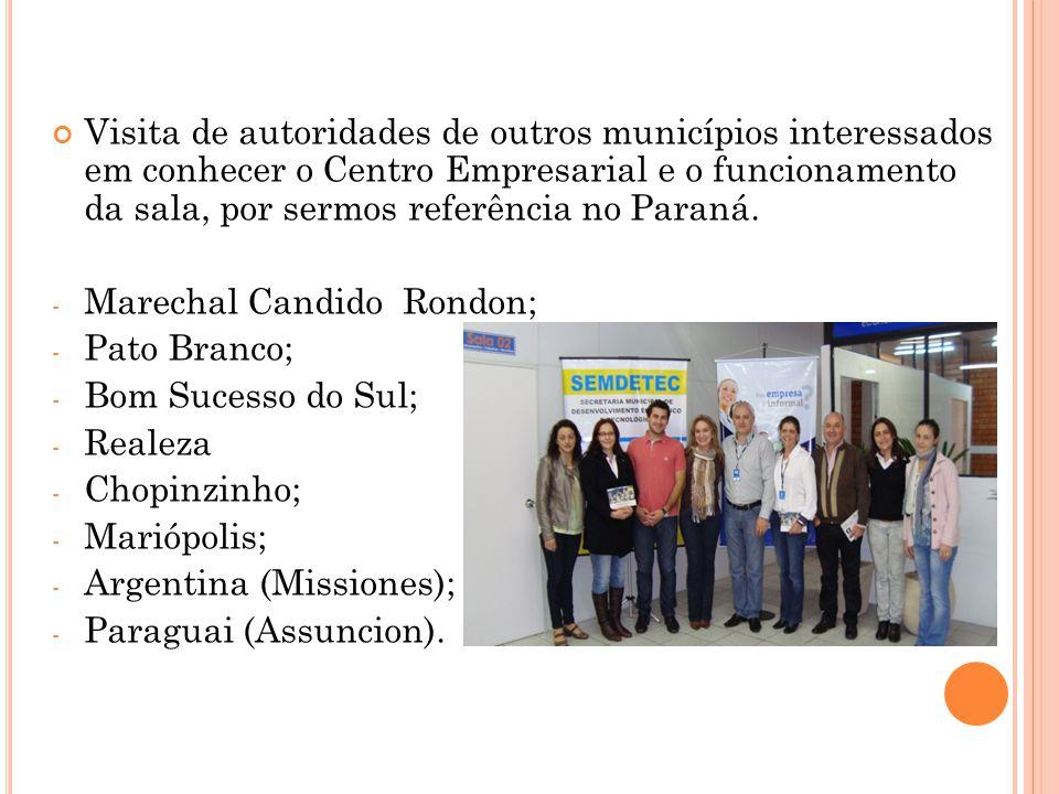 Visita de autoridades de outros municípios interessados em conhecer o Centro Empresarial e o funcionamento da sala, por sermos referência no Paraná.