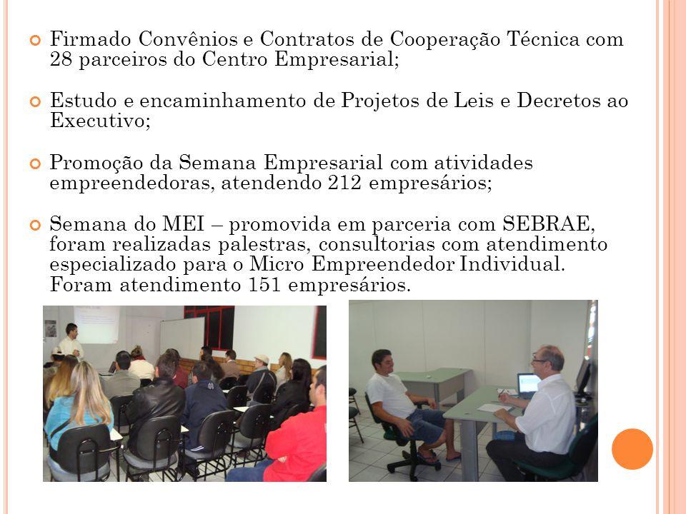 Firmado Convênios e Contratos de Cooperação Técnica com 28 parceiros do Centro Empresarial;