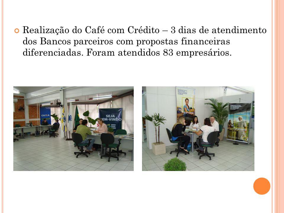 Realização do Café com Crédito – 3 dias de atendimento dos Bancos parceiros com propostas financeiras diferenciadas.