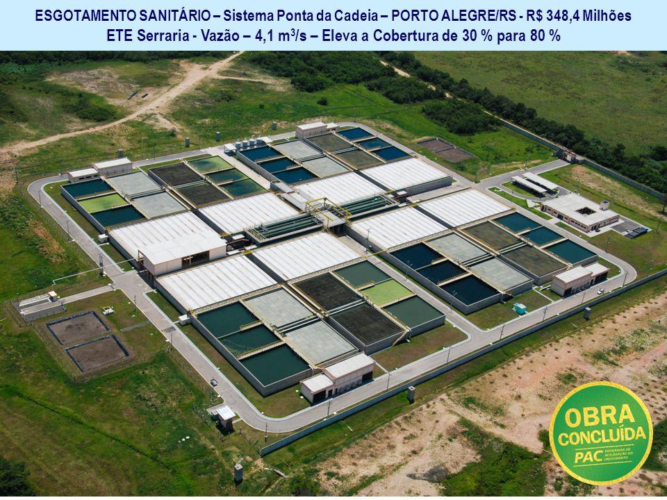 ETE Serraria - Vazão – 4,1 m3/s – Eleva a Cobertura de 30 % para 80 %