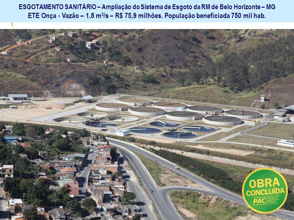 ESGOTAMENTO SANITÁRIO – Ampliação do Sistema de Esgoto da RM de Belo Horizonte – MG