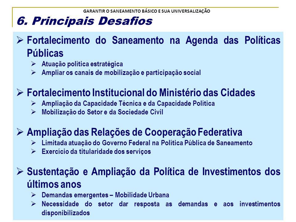 6. Principais Desafios Fortalecimento do Saneamento na Agenda das Políticas Públicas. Atuação política estratégica.