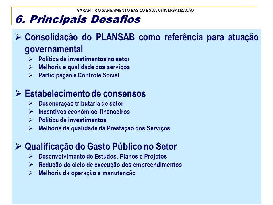 6. Principais Desafios Consolidação do PLANSAB como referência para atuação governamental. Política de investimentos no setor.