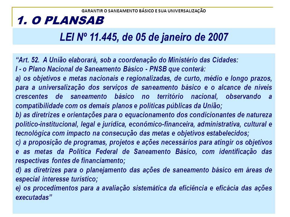 1. O PLANSAB LEI Nº 11.445, de 05 de janeiro de 2007