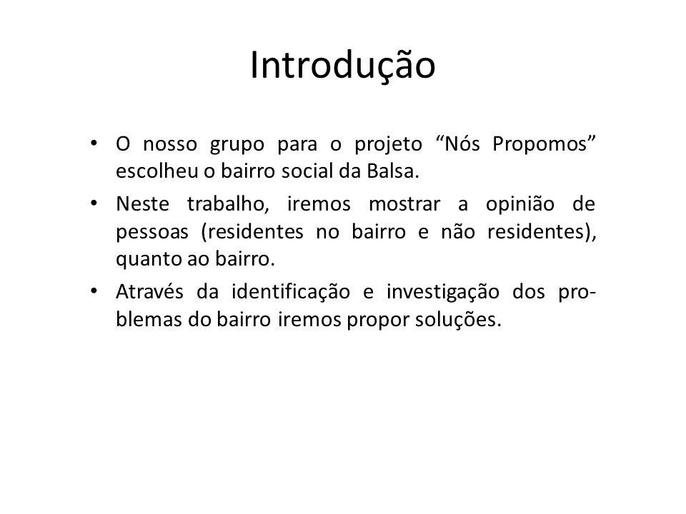 Introdução O nosso grupo para o projeto Nós Propomos escolheu o bairro social da Balsa.