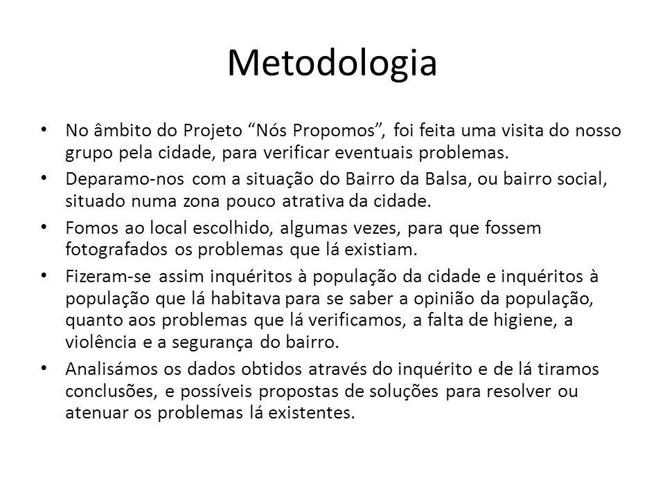 Metodologia No âmbito do Projeto Nós Propomos , foi feita uma visita do nosso grupo pela cidade, para verificar eventuais problemas.