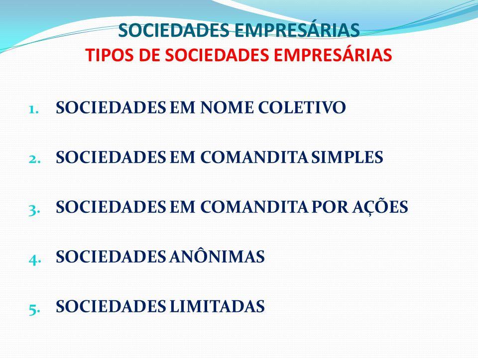 SOCIEDADES EMPRESÁRIAS TIPOS DE SOCIEDADES EMPRESÁRIAS