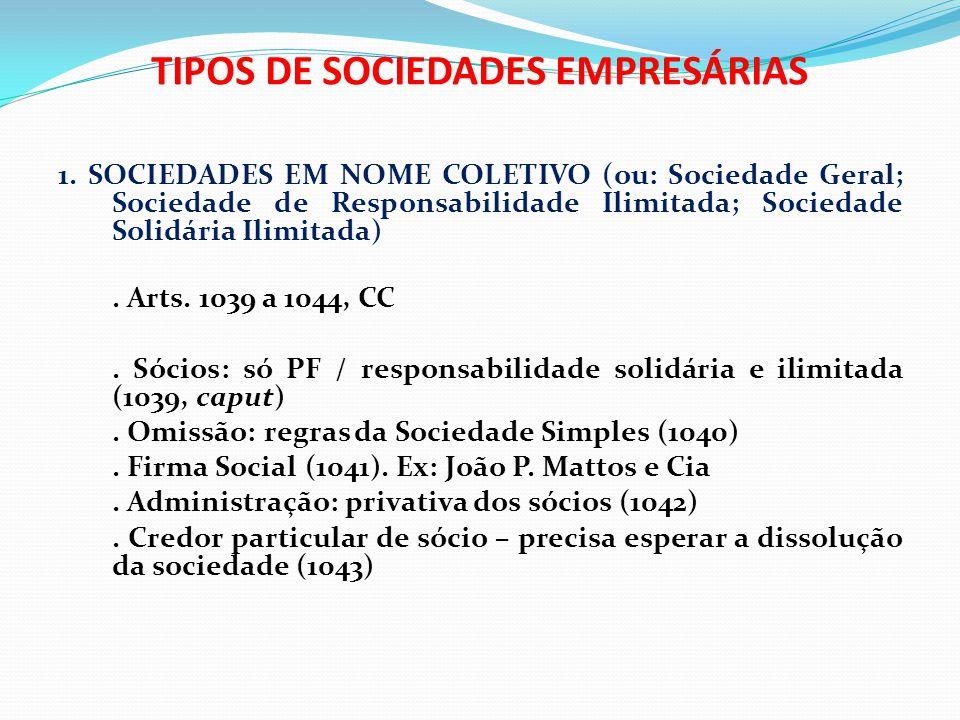 TIPOS DE SOCIEDADES EMPRESÁRIAS