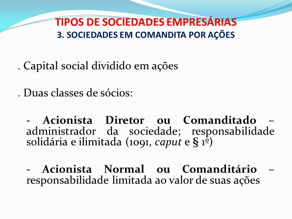 TIPOS DE SOCIEDADES EMPRESÁRIAS 3. SOCIEDADES EM COMANDITA POR AÇÕES