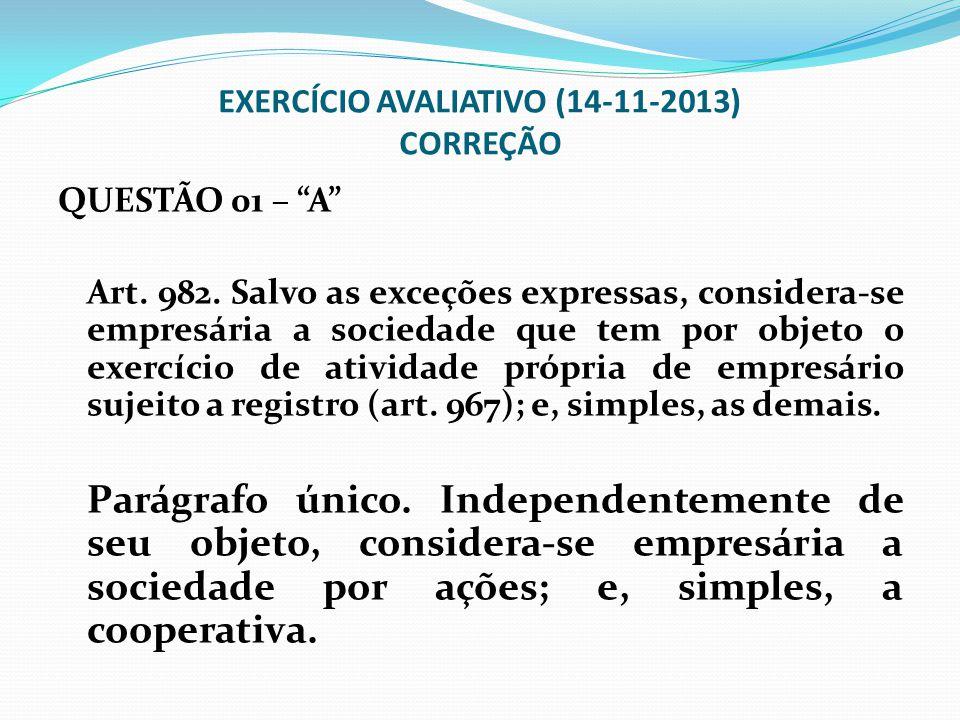 EXERCÍCIO AVALIATIVO (14-11-2013) CORREÇÃO