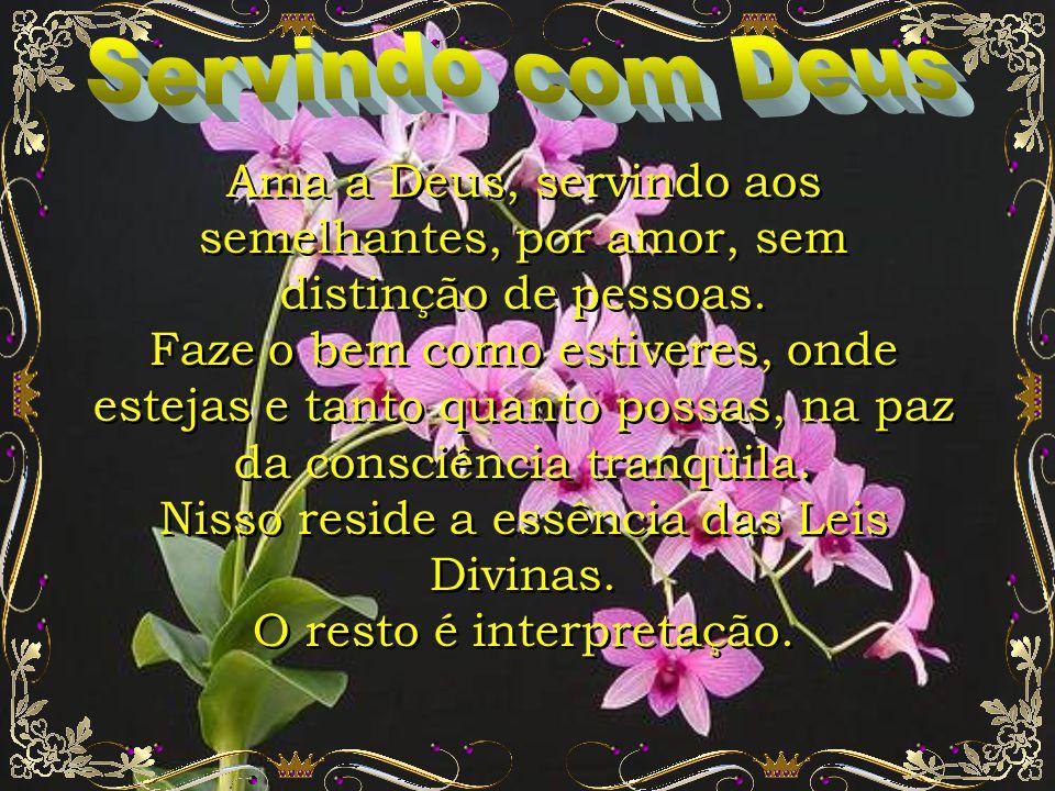 Servindo com Deus Ama a Deus, servindo aos semelhantes, por amor, sem distinção de pessoas.